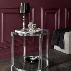 Leonique Beistelltisch »Ceadda« mit Metallbeinen und einer Glastischplatte, in 2 Farben, Breite 61 cm