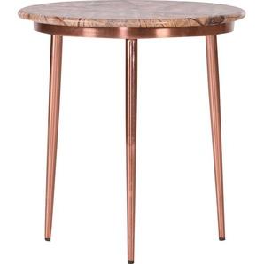 Leonique Beistelltisch Menton, mit kupferfarbenem Gestell und edler Marmorplatte Einheitsgröße braun Beistelltische Tische
