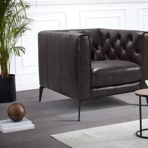 Leonique Chesterfield-Sessel »Narmada«, mit dekorativer Knopfheftung im Rückenteil und an den hohen Armlehnen, mit schlanken Metallbeinen, im Chesterfield-Design
