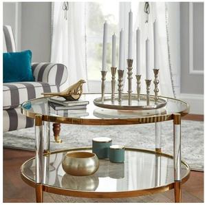 Leonique Couchtisch »Ceadda« mit Metallbeinen und einer Glastischplatte, in 2 Farben, Breite 102 cm