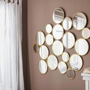 Leonique Dekospiegel Malisa, Wanddeko, bestehend aus 19 runden Spiegelementen B/H/T: 121 cm x 110 2 goldfarben Wanddekoration Deko Wohnaccessoires