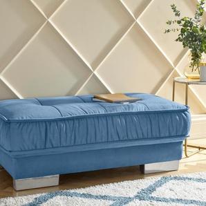Leonique Hockerbank Diwan 2, passend zum 2 -Ecksofa, in 3 Bezugsqualitäten B/H/T: 128 cm x 47 67 cm, Samtvelours blau Polsterbänke Sitzbänke Stühle