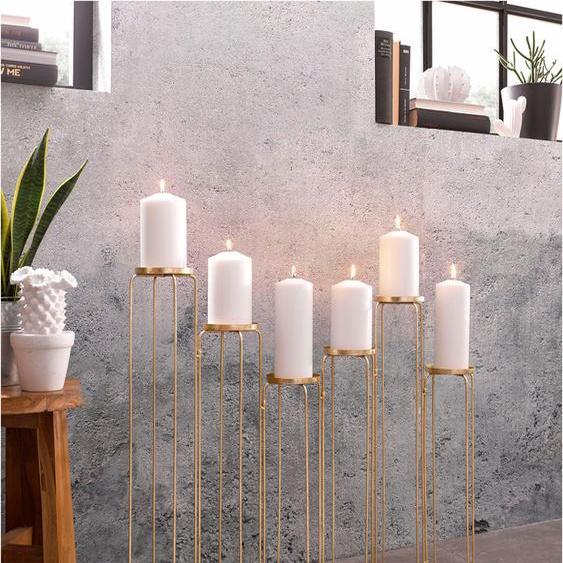 Leonique Kerzenständer 73x12x65 cm goldfarben Kerzenhalter Kerzen Laternen Wohnaccessoires