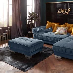 Leonique Polsterhocker Diwan Luxus 0, Samtstoff Velvet blau Hocker Nachhaltige Möbel