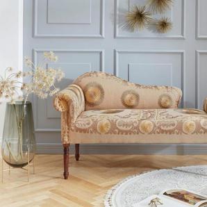 Leonique Relaxliege »Jamal«, aus schönem Leinenstoff, mit edlen Stickereien, Sitzbreite 147 cm