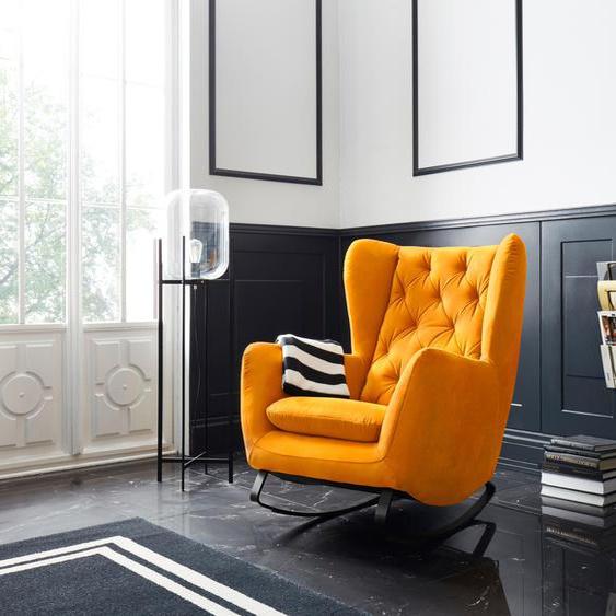 Schaukel-Stuhl »Beatrice«, 82x109x93 cm (BxHxT), Leonique, gelb, Material Metall, Holz, Polyester