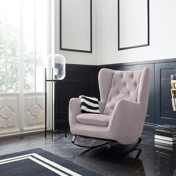 Schaukel-Stuhl »Beatrice«, 82x109x93 cm (BxHxT), Leonique, rosa, Material Metall, Holz, Polyester