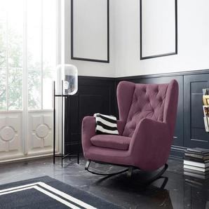 Leonique Schaukelsessel Beatrice, Ohrensessel mit Knopfheftung Samtoptik, B/H/T: 82 cm x 109 93 rot Weitere Sessel Wohnzimmer