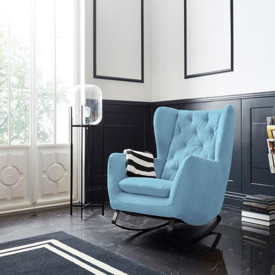 Schaukelstuhl »Beatrice«, 82x109x93 cm (BxHxT), Leonique, blau, Material Metall, Holz, Polyester