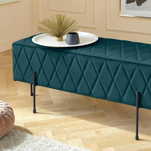 Leonique Sitzbank Cavalino, mit Velvetbezug und schwarzen Metallbeinen, auch als Garderobenbank oder Bettbank geeignet B/H/T: 110 cm x 39 40 cm, Velvet grün Polsterbänke Sitzbänke Stühle