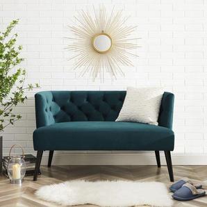 Leonique Sitzbank Eleanora, Kopfheftung in Rückenlehne, 2 Farben erhältlich B/H/T: 127 cm x 76 67 cm, Polyester blau Holzbänke Sitzbänke Kleinmöbel
