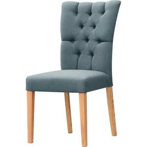 Leonique Stuhl Peillon, mit Knopfsteppung und Beinen aus massiver Eiche B/H/T: 46 cm x 94,5 59 cm, 2 St., Feinstruktur blau Polsterstühle Stühle Sitzbänke