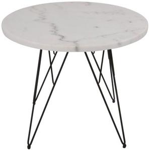Lesli Living Beistelltisch »Beistelltisch Bistrotisch Marmortisch Marmorplatte grau/weiß Ø55x45cm«