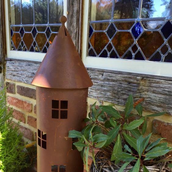 Leuchtturm Edelrost, Antik-Look Laterne, Windlicht für Haustür Dekoration Kerze