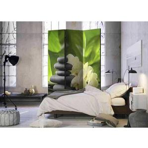 Lichtechter Paravent aus Leinwand und Massivholz mit Zen Motiv
