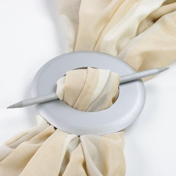 Liedeco Raffspange, aus Holz Ø 10,5 cm silberfarben Raffhalter Zubehör für Gardinen Vorhänge Raffspange