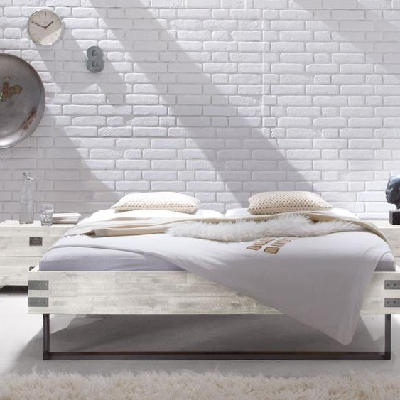 Liege Konna, Akazie weiß, 160x200 cm, Fußhöhe 20  cm - mit Metall-Beschlägen