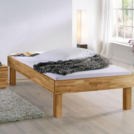 Liege Madrid Komfort, Buche weiß, 140x200 cm, Fußhöhe 30 cm - Bettrahmenhöhe 48 cm