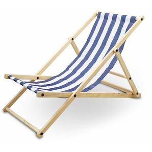 Liegestuhl Sonnenliege Gartenliege Holzliege Strandliegestuhl Holz Klappbar (Blau/Weiß Gestreift) - BITUXX
