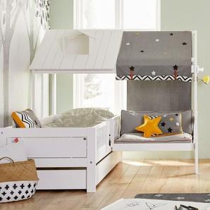 LIFETIME Bett & Sofa Ferienhaus, weiß deckend, Dach über halbe Breite