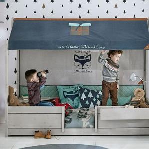 LIFETIME Kinderbett 4-in-1 Forest Ranger, weiß mit Holzstruktur, 90x200 cm, mit Roll-Lattenrost + Stoffdach & Rückwand