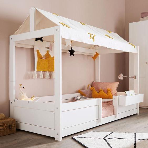 LIFETIME Kinderbett 4-in-1 Princess Stars, weiß, mit Einlege-Lattenrost + Stoffdach
