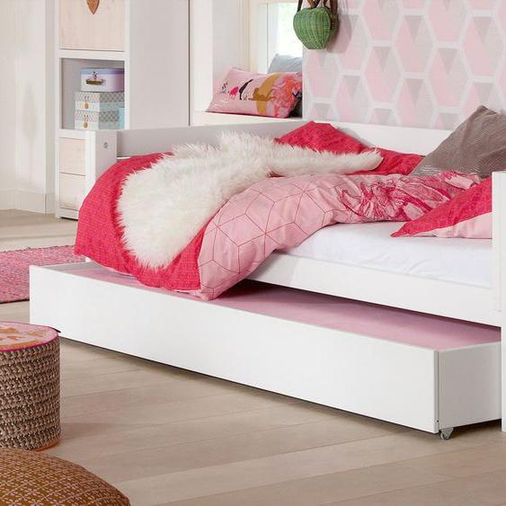 LIFETIME Kinderbett 4-in-1, weiß mit Holzstruktur, 90x200 cm, Mit Roll-Lattenrost - ohne Baldachin