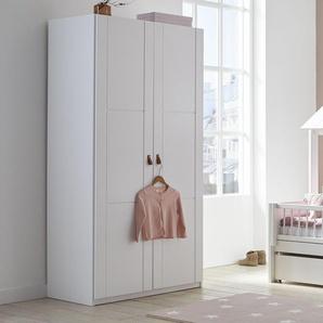 LIFETIME Kleiderschrank, weiß mit Holzstruktur, 2-türig