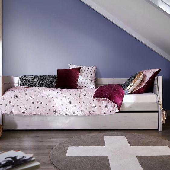 LIFETIME Sofabett Original, weiß mit Holzstruktur, 90x200 cm, mit Einlege-Lattenrost