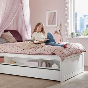 LIFETIME Stauraumbett Original, weiß, 120x200 cm, Regalfächer beidseitig - mit Bettschublade