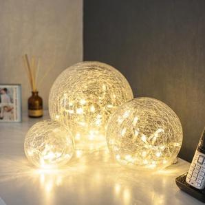 Lights4fun 3er Set LED Glaskugeln mit Lichterkette warmweiß Innen strom- und batteriebetrieben