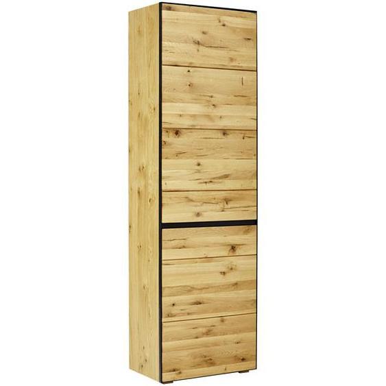 Linea Natura Garderobenschrank Wildeiche furniert, massiv, teilmassiv Braun , Holzwerkstoff , 2 Fächer , 60x200x38 cm