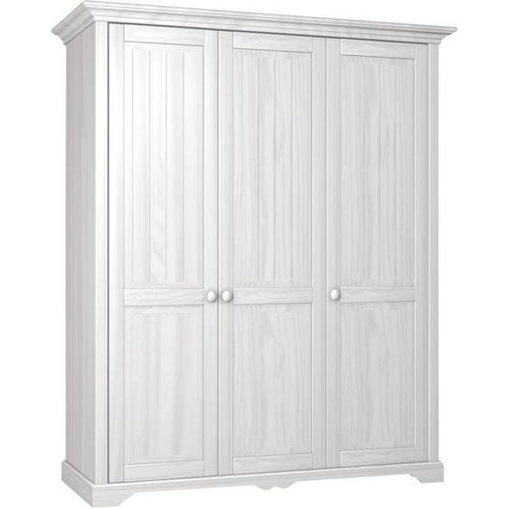 Linea Natura Kleiderschrank , Weiß , Holzwerkstoff , Kiefer , teilmassiv , 2 Fächer , 171x205x65 cm