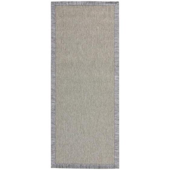 Linea Natura Läufer In-/ Outdoor 80/200 cm Grau , Textil , Bordüre , 80 cm
