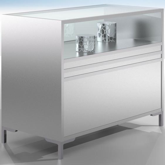 LINK Thekenmodul mit Schiebet�ren, 1/3-verglast, b120xt60xh90cm