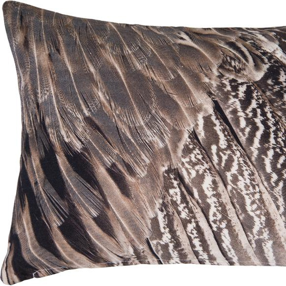 Linne Kissenhülle Federkleid 1x 45x30 cm, Baumwolle braun Kissenbezüge gemustert Kissen Kopfkissen