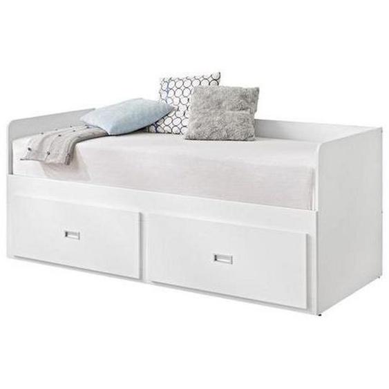 Livetastic Ausziehbett , Weiß , Holz , Kiefer , vollmassiv , H2=mittel bis ca.80kg , 80 cm