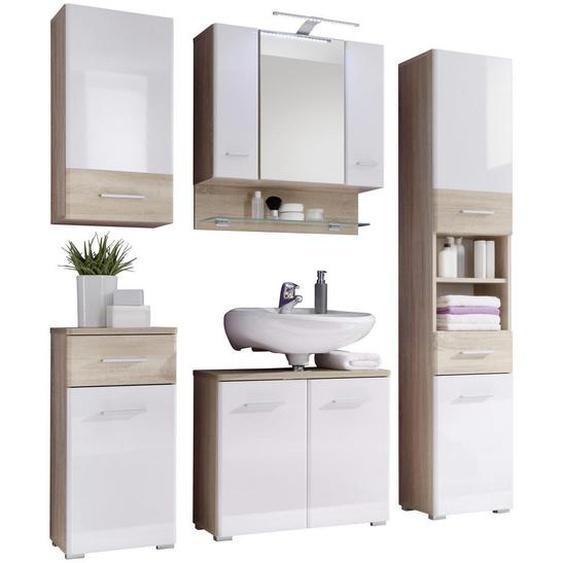 Livetastic Badezimmer Weiß, Beige , 146 cm