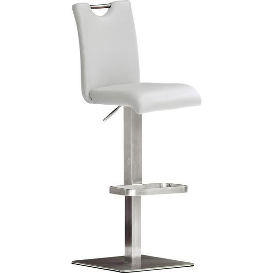 Livetastic Barhocker Lederlook Weiß, Silber , Metall , 42 cm