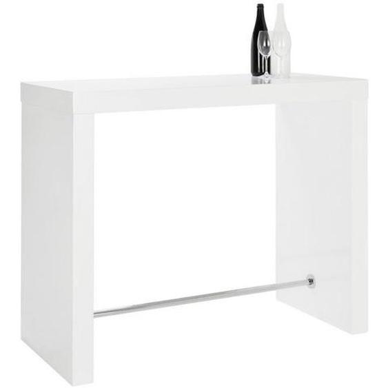 Livetastic Bartisch rechteckig Weiß , Metall , 60x105x130 cm