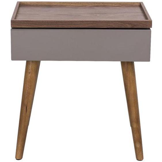 Livetastic Beistelltisch Buche massiv rechteckig Mehrfarbig , Holz , 55x60x35 cm