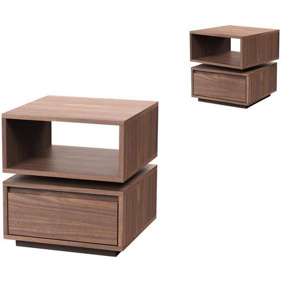 Livetastic Beistelltisch quadratisch Braun , 1 Schubladen , 40x44x40 cm