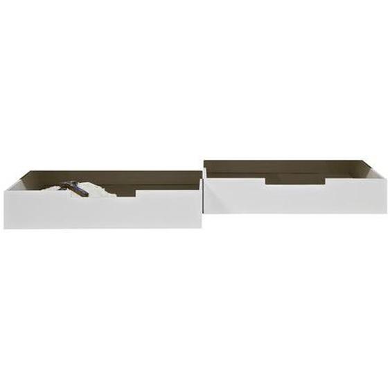 Livetastic Bettschubkasten 198/21/92 cm Weiß , Metall, Kunststoff , Kiefer , massiv , 198x21x92 cm