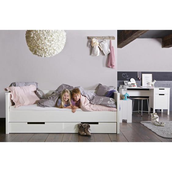 Livetastic Bettschubkasten Weiß , Metall, Kunststoff , Kiefer , massiv , 198x21x70 cm
