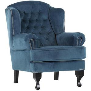 Livetastic Chesterfield-Sessel , Blau, Schwarz , Textil , 87x107x96 cm , Stoffauswahl , Wohnzimmer, Sessel, Polstersessel