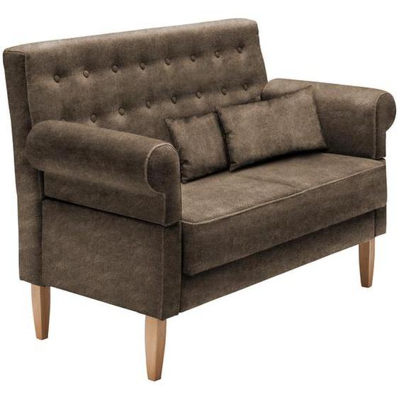Livetastic Chesterfield-Sofa Cappuccino Lederlook, Mikrofaser , Textil , Buche , Uni , 2-Sitzer , 147x99x76 cm
