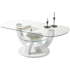 Livetastic Couchtisch , Weiß , Glas , oval , Bodenplatte , 60x40 cm , Wohnzimmer, Wohnzimmertische, Couchtische