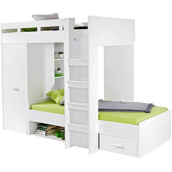 Livetastic Etagenbett Weiß , Holzwerkstoff , 90 cm
