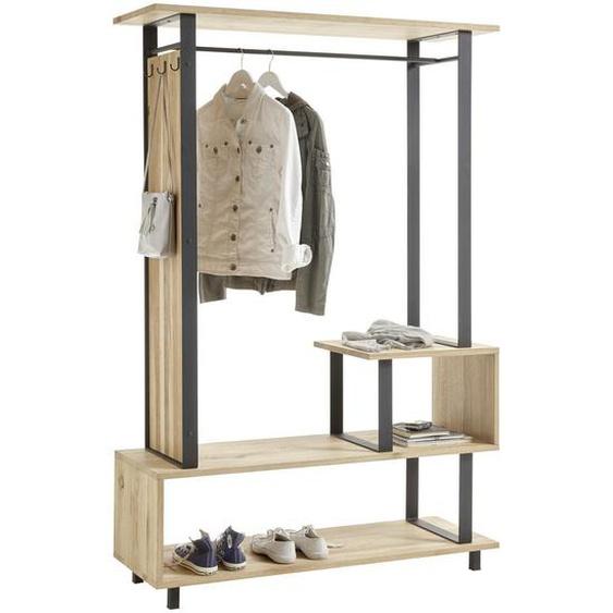 Livetastic Garderobe Eiche massiv Schwarz, Braun , Holz, Metall , 120x180x40 cm