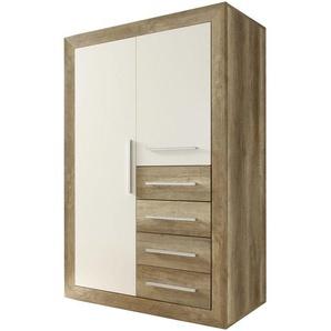 Carryhome: Highboard, Holzwerkstoff, Eiche, Weiß, B/H/T 107 161 57